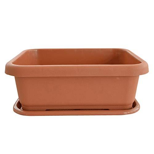 zxb-shop Macetas Maceta Simple Resina de plantación Recipiente de balcón Balda de siembra y Bandeja Capacidad Cuadrada Tablero de Flores Grandes y Hermosas (Color : Brown, Size : Pack)