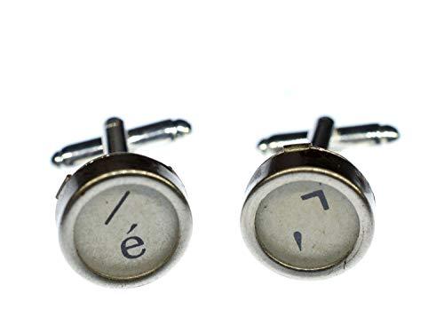 Miniblings Slash E Apostroph + Box Manschettenknöpfe Schreibmaschinetaste weiß