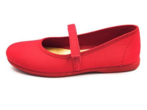 PULIDINES - Mercedita de Tela con Plantilla de Textil y Suela de Goma Niñas Talla: 28 Color: Rojo