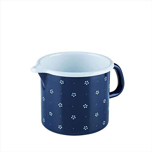 Riess, 0040-073, Schnabeltopf 12 1,00 L, COUNTRY - DIRNDL, Durchmessser 12 cm, Höhe 11,5 cm, Inhalt 1,0 Liter, Emaille, blümchenblau,blau/weiß