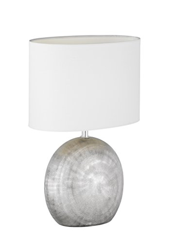 WOFI Lámpara de Mesa E14, 40 W, Plata, 24 x 17 x 37 cm, bri