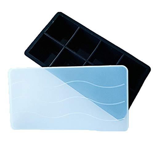 Gemakkelijk los Siliconen en Flexibele 8-Ice Trays met morsbestendige verwijderbare Lid.LFGB gecertificeerd & BPA gratis, Beste voor vriezer, Baby eten, Whiskey, Cocktail