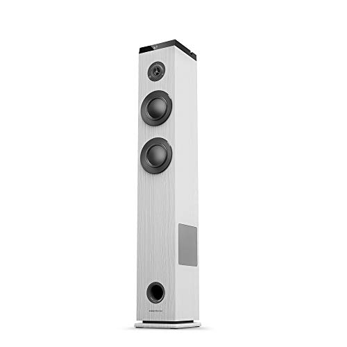 Energy Sistem Tower 5 g2 Ivory (65 W, Bluetooth 5.0, True Wireless Stereo, FM-Radio, USB/MicroSD MP3-Player, Audio-In), Weiß