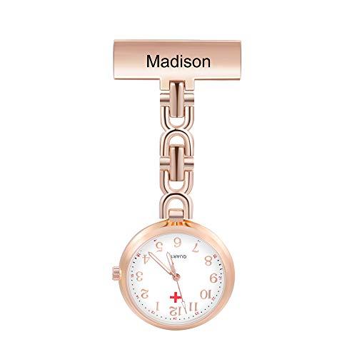 Reloj de Enfermera Personalizado Reloj de Bolsillo Enfermera Nombre Reloj de Enfermera Portátil Reloj de Bolsillo Retro Regalo Cumpleaños Conmemorativo para Mujer Madre Padre (Oro Rosa)