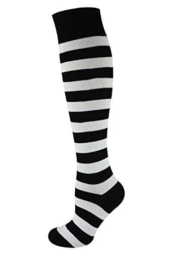 Mysocks Unisex Kniestrümpfe lange Socken Streifen Weiß schwarz