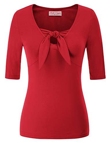 Blusas y Camisas de Mujer Elegantes Blusas Manga Corta Mujer Rojo XXL