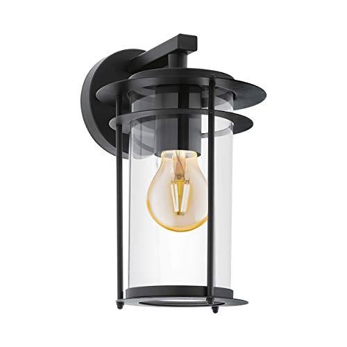EGLO Außen-Wandlampe Valdeo, 1 flammige Außenleuchte, Wandleuchte aus verzinktem Stahl, Farbe: Schwarz, Glas: klar, Fassung: E27, IP44