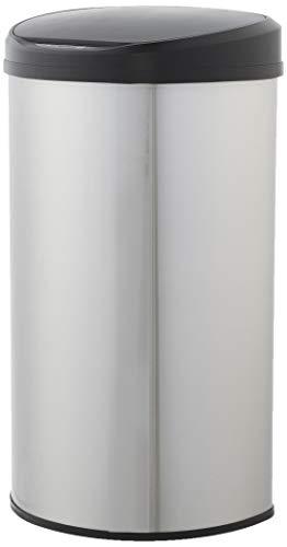 AmazonBasics - Cubo de basura automático de acero inoxidable, semicircular, 50 litros