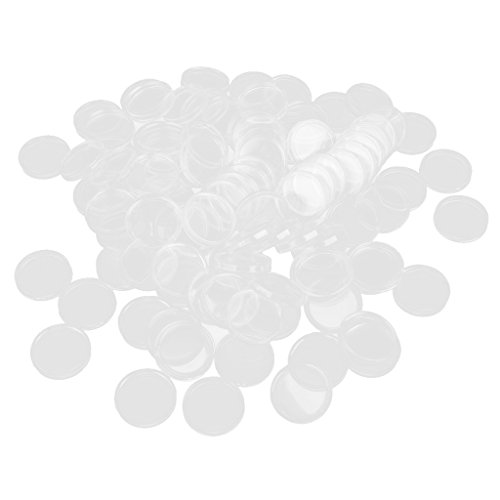 Baoblaze 100 Pezzi Chiari Capsule Monete Contenitori Scatola Hobby e Collezionismo Plastica - 23mm