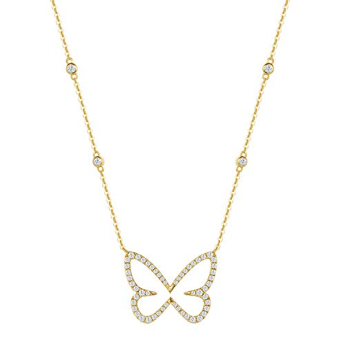 FANCIME Collar con Colgante de Diamante Natural 0,497 Quilates de Mariposa y Oro Amarillo Macizo de 14 Quilates, joyería Fina para Mujeres - Longitud Cadena: 40 + 5 cm