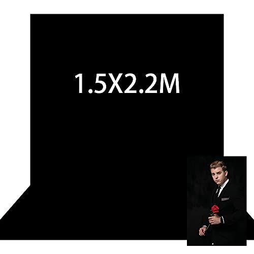 Kate 1,5x2,2m Foto Hintergrund Schwarz Faltbar Microfiber Hintergrund Fotostudio Grundlegender Schwarz Hintergrund