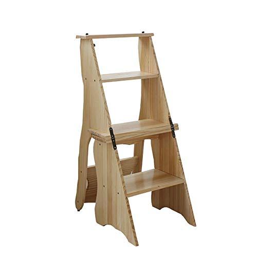 GJSN Facile e Conveniente Multifunzione Pieghevole Passo Sgabello, Grande Bosco 4 Pedate Chair 330 Lb Capacità, Coperta Scaletta/Scala a Pioli per Adulti Cucina (Colore: 1#),2#