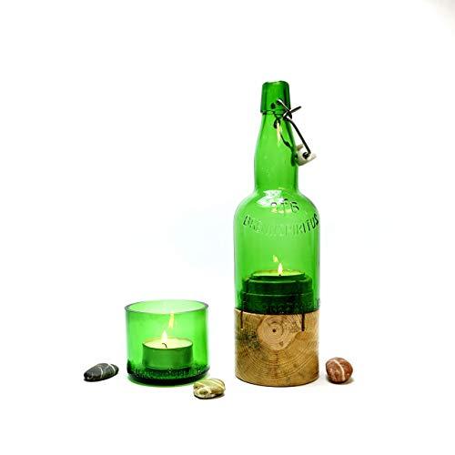 Außergewöhnliches Windlicht aus einer Vintage- Flasche und Kiefernholz/Flaschenlicht/Flaschenkerze