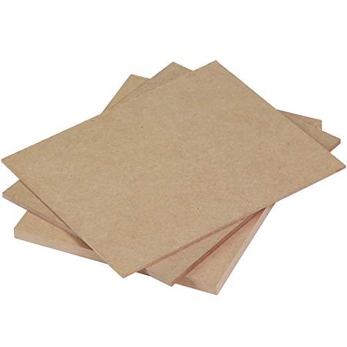 Tableros de madera DM (MDF) de 10 MM de la mejor calidad | Tamaños A0, A1, A2, A3, A4, A5 | Opción corte a medida | Soporte para manualidades, decoración, láser, pintura. (5ud, A4 | 29,7 x 21 cm)