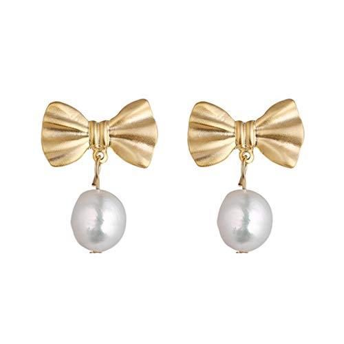 HMEI Pendientes De Perlas De Imitación De Bowknot Retro Damas Pendientes Pendientes De Otoño E Invierno Pendientes Decorativos
