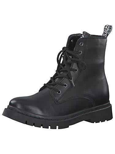 Tamaris Damen Stiefel, Frauen Schnürstiefel,lose Einlage, Women Woman Freizeit leger Boots Combat schnürung weiblich Lady,Black,38 EU / 5 UK