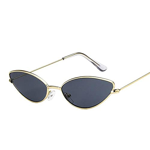 YHKF Gafas De Sol De Ojo De Gato con Montura Metálica para Mujer, Gafas De Sol Triangulares Vintage para Mujer, Pequeñas Sombras-Gold_Black