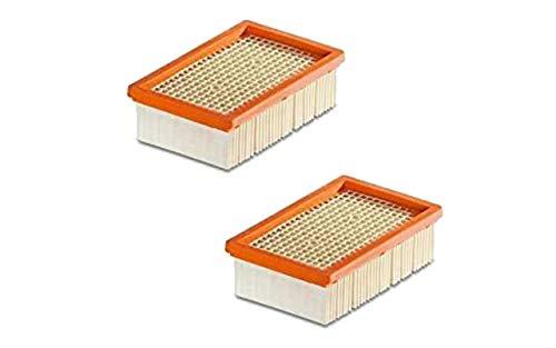 2 filtros de pliegues planos | para aspiradora multiusos Kärcher + aspiradora en seco / húmedo | MV4 + MV5 + MV6 + WD4 + WD5 + WD6 | como 2.863-005.0 WD 4-6 y MV 4-6