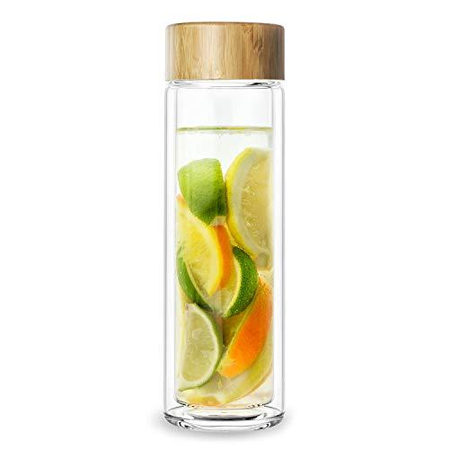 PRECORN Teekanne Glas 450ml Teeflasche doppelwandig mit Edelstahl Sieb & Bambus Deckel