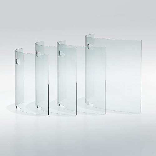 bijon Spuckschutz Glas Gebogen aus ECHT-Glas mit Fenster und Durchreiche | Hustenschutz Hygieneschutz Niesschutz | (65x45x14cm)