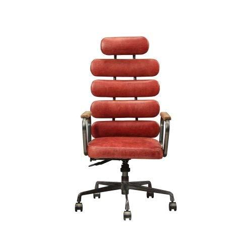 LQIAN Bürostuhl / Chefsessel in Antik-Rot, genarbtes Leder, verstellbar, Rollstuhl, Schreibtischstuhl, verstellbar
