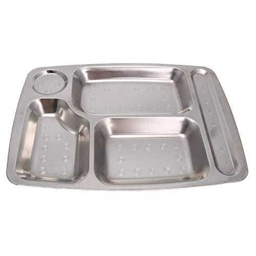 3 STKS multifunctionele roestvrijstalen verdeelde eettafel Lunchcontainer voedselplaat 4/5/6 sectie, lichtgeel