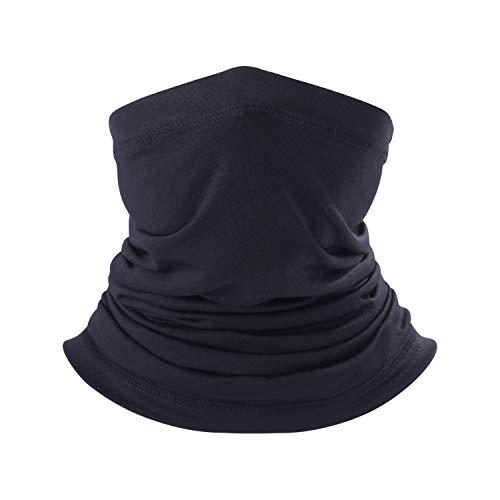 Neck Gaiter for Men Women- Versatile Fishing Face Mask Non Slip Breathable for Sun Wind Protection (Solid Black, 1)