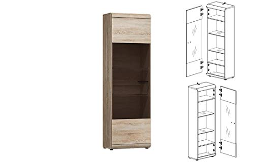 Furniture24 Vitrine LINK, Standvitrine, Wohnzimmerschrank, Vitrinenschrank mit 1 Tür (Ohne Beleuchtung)