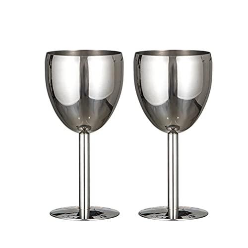 QYYL Juego de 2 Copas de Vino de Acero Inoxidable, Copas de Champán de Acero, inastillable, Fácil de Limpiar, Durable (Bright/150ml)