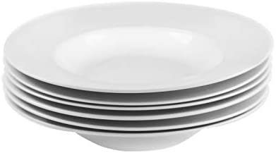 Amuse- Professional Gourmet Porcelain Pasta Plate- Set of 6 (Pasta Plate)