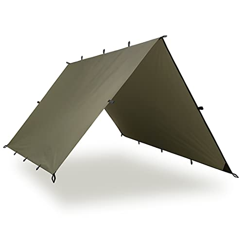 Aqua Quest Defender Tarp - 100% Waterproof Heavy Duty Nylon Bushcraft Survival Shelter - 10x7 Olive Drab