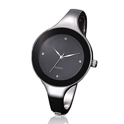 ZZL Slim Casual Watch Nuovo orologio femminile impermeabile tendenza moda rotondo semplice braccialetto atmosferico orologio al quarzo moda business orologi (colore : nero)