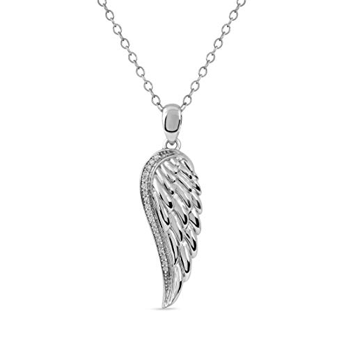 Sterling Silver 1/20ct TDW Diamond Angel Wing Necklace for Women(I-J, I2)