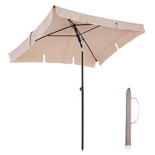 SONGMICS 200 × 125 cm Sonnenschirm, Marktschirm, UV-Schutz UPF 50+, Gartenschirm, Terrassenschirm, Sonnenschutz, mit Tragetasche, ohne Ständer, für Garten, Balkon und Terrasse, Taupe GPU25BR