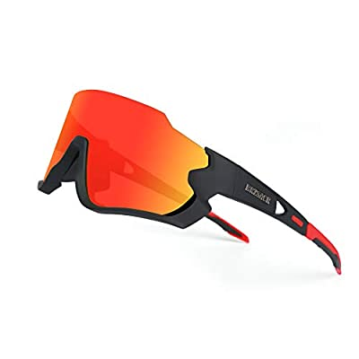 Polarized Cycling Sunglasses Polarized Sports Sunglasses with 3 Interchangeable Lenes for Men Women Cycling Running Driving Fishing Golf Baseball Glasses. (Red Black)