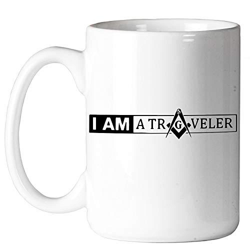 I am a Traveler Square & Compass Masonic Coffee Mug - [11 oz.]