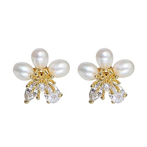 Pendientes de plata de ley 925 chapados en oro de 14 quilates con diseño de flores, pendientes de perlas de plata de ley 925, regalo de joyería para mujeres y niñas y madres