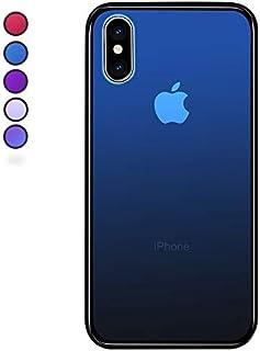 【SUMart】iPhone X ケース グラデーション 強化ガラスケース 硬度9H TPUバンパー ハードケース おしゃれ qi対応 傷つき防止 (iPhone X, ロイヤルブルー)