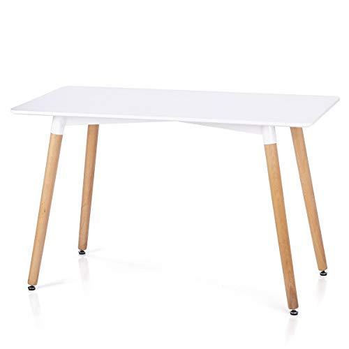 Homede Esszimmertisch 120x80 cm MDF Platte Holz rechteckig weiß Elle