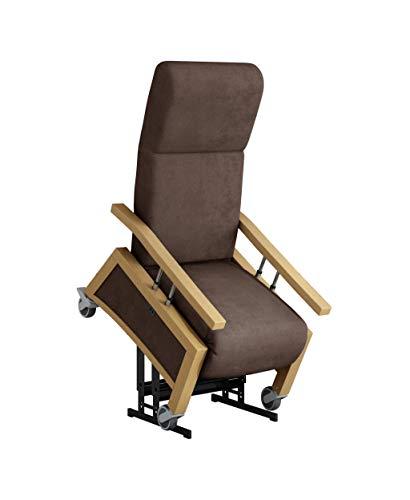 DEVITA - Pflegesessel Aufstehsessel Relaxsessel NARONA Lift 2 mit Aufstehhilfe, Rollen, Schiebegriff, versenkbare Armlehnen und verstellbarer Rückenlehne - bis 140 kg - mit Netzstecker - Buche hell, chocolat mikrofaser