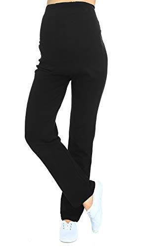 Schwangerschaftshose / Yogahose mit extra Bauch-Panel / Umstandsmode (L, Schwarz)