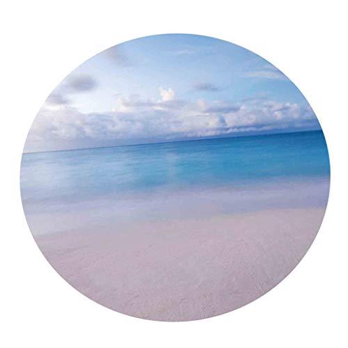 HomeDecTime - Mantel redondo de vinilo con borde elástico de 55 pulgadas, diseño de nubes azules y blancas