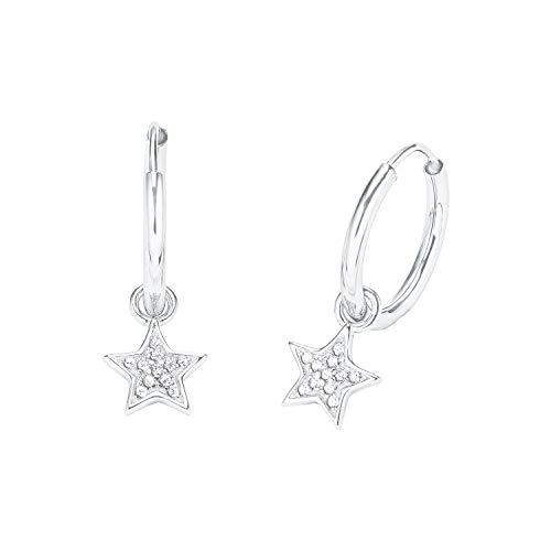 amor Creole für Damen mit Stern-Anhänger, glänzendes Silber 925, Zirkonia