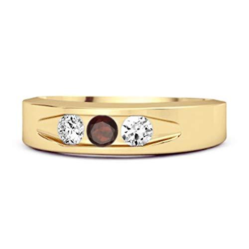 Shine Jewel Multi Elija su Piedra Preciosa chapada en Oro Amarillo de 0,30 Quilates Tres Piedra 925 Libra esterlina Anillo de Plata (10, Granate)