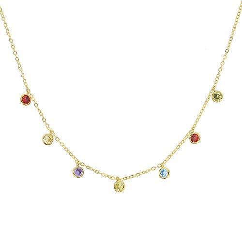 YHHZW Collar Corea Moda Delicada AAA Brillante Brillante Punto Encanto Cadena De Eslabones Colgante Collares Mujeres Colores Gargantillas Redondas Joyería