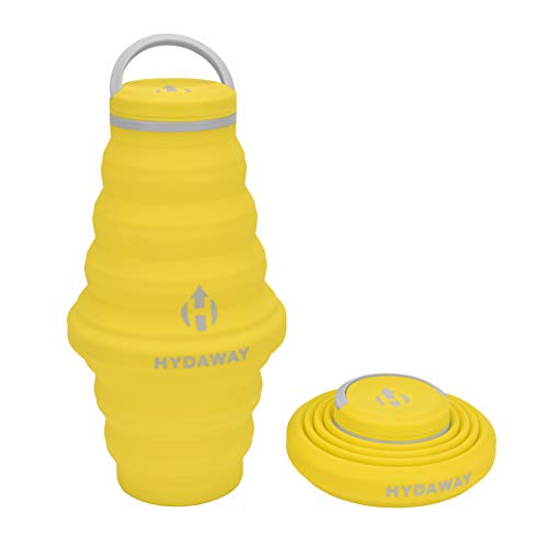 HYDAWAY Collapsible Water Bottle, 25oz Cap Lid | Ultra-Packable, Travel-Friendly, Food-Grade Silicone (Lightning)