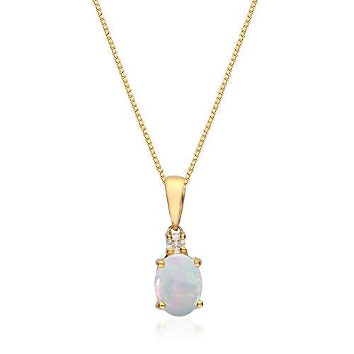 Gin & Grace Oro blanco 10K ópalo y diamante natural (I1, I2) colgante para las mujeres