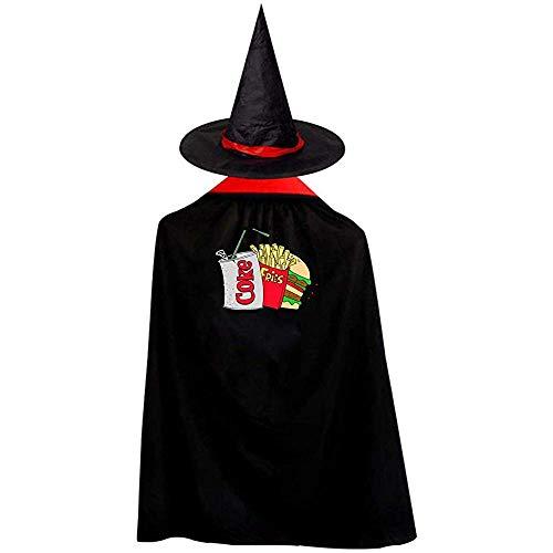RJ Unique Manto De Bruja,Comida Chatarra Y Una Coca-Cola Light Disfraces De Halloween Bruja Mago Capa Capa con Sombrero M