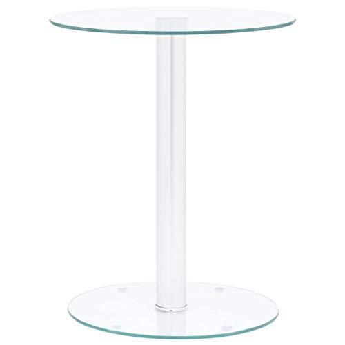 Dioche Cofee Table - Tavolino da salotto moderno in vetro temperato trasparente, 40 cm