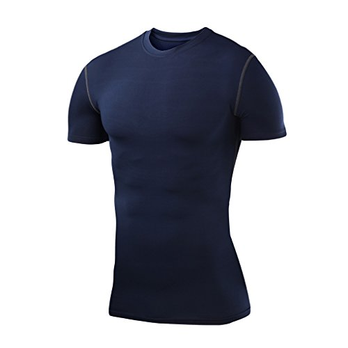 PowerLayer Homme & Garçon T-Shirt de Compression Base Layer Thermique de Sport à Manches Courtes - Bleu Marine, M Garçon (8 à 10 Ans)
